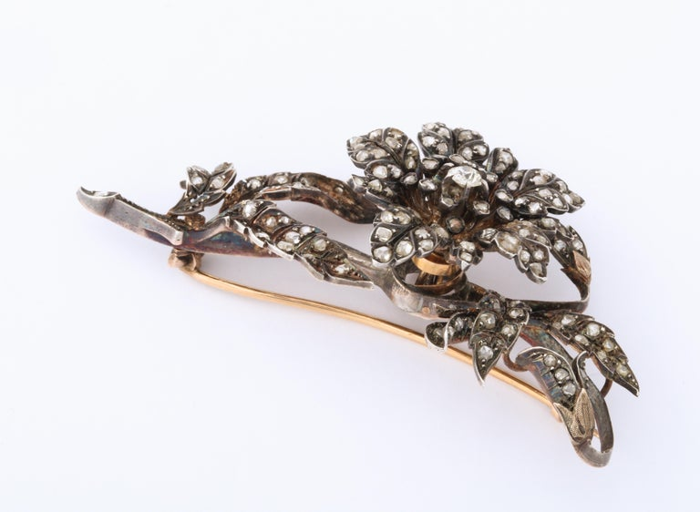 Antique Rose Diamond Brooch For Sale 1