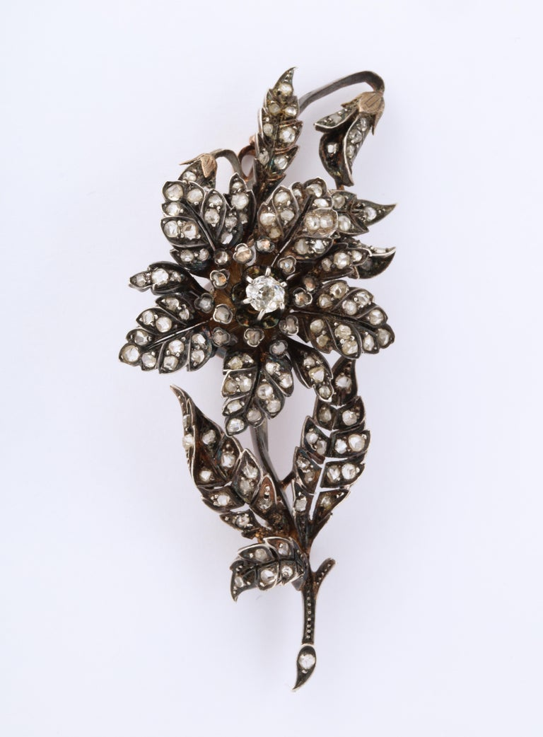 Antique Rose Diamond Brooch For Sale 2