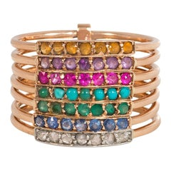 Antique Rose Gold and Multi-Gemstone Seven-Band Harem/Acrostic Ring