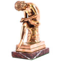 Rose Gold Patinated Bronze Figure of Boy with Thorn Spinario, 19th Century