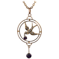 Antique Rose Gold Pearl and Amethyst Swallow Bird Pendant Necklace, circa 1910