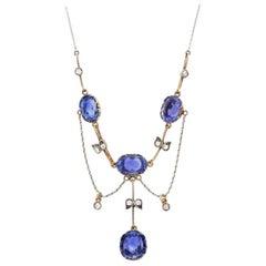 Antique Rose Gold, Platinum, Sapphire and Diamond Swag Necklace