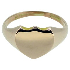Antique Rose Gold Signet Ring with Shield Shaped Top, Chester, 1899
