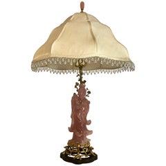 "Antique Rose Quartz ""Kwau Yiu"" Lamp, circa 1910-1920"