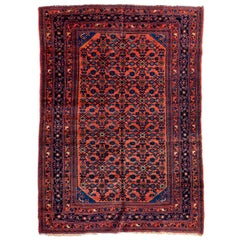 Antique Rose Red and Navy Blue Persian Angeles Fine Lilihan Area Rug circa 1920s