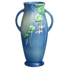 Antique Roseville Fushia Art Pottery Handled Vase Circa 1930's