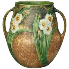 Roseville Jonquil Art Pottery Double Handled Daffodil Vase 530-10, circa 1930