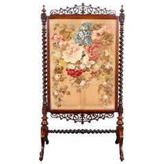 Antique Rosewood and Needlepoint Fire Screen