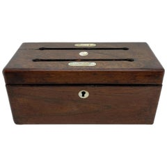Antique Rosewood Letter Box with Mother of Pearl Inlay, English, circa 1860