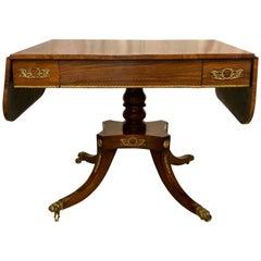 Antique Rosewood Regency Sofa Table with Satinwood Trim, circa 1830-1840