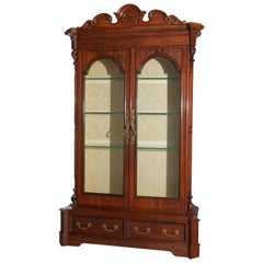 Antique Rosewood Victorian Meeks School 2-Door Bookcase, circa 1850