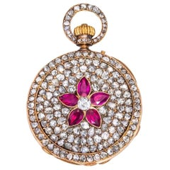 Antique Rossel & Fils 18k Gold Diamond & Ruby Encrusted Pocket Watch Timepiece