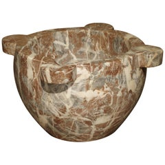 Antique Rouge Marble Mortar from France, Mid-1800s