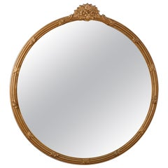 Antique Round Art Deco Floral Giltwood Wall Mirror, 20th Century