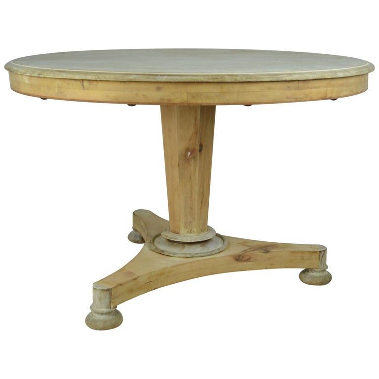 Antique Round Bleached Mahogany and Pine Breakfast Table For Sale