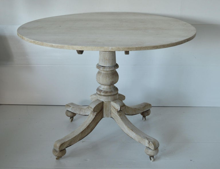 English Antique Round Bleached Oak Side Table For Sale