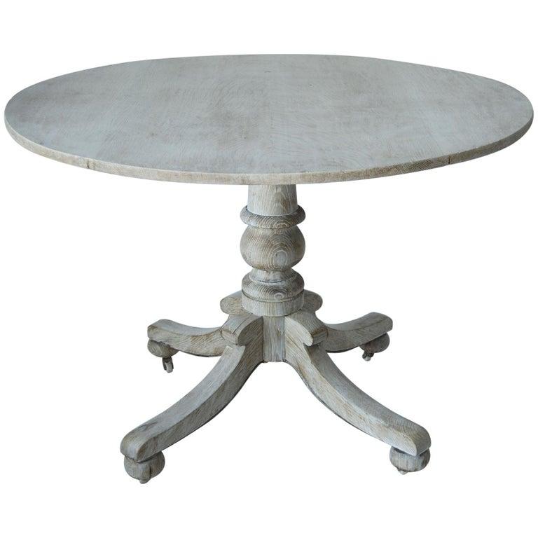 Antique Round Bleached Oak Breakfast Table