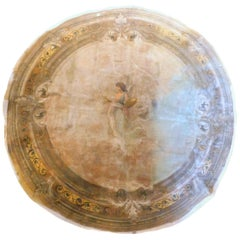 Antique Round Ceiling Paper on Canvas Hand Painted Sky and Maid, 1800, Italy