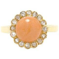 Antique Round Coral Victorian Rose Cut Diamond Halo 18 Karat Gold Ring