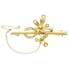 Antique Round Cut F Color Diamond Yellow Gold Brooch