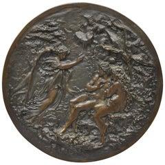 Antique Round Figural Bronze Plaque Medallion Adam and Eve Garden of Eden