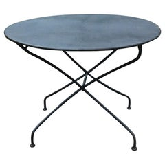 Antique Round French Folding Metal Garden Table