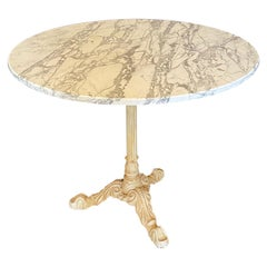 Antique Round Marble French Cafe Bistro Dining Table