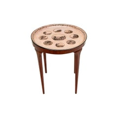 Antique Round Metal Tray Top Table with French Scenes