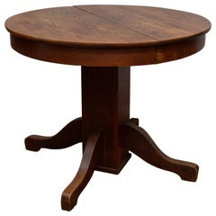 Antique Round Oak Pedestal Table in the Smallest Diameter Made, circa 1910
