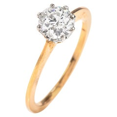 Antique Round Old European Diamond Solitaire Gold Engagement Ring