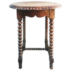 Antique Round Side Table Bobbin Turned Legs