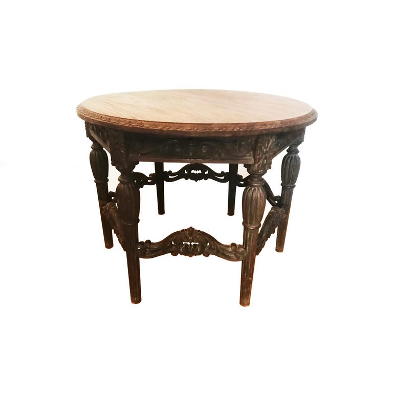 Antique Round Table With Six Adam Style Legs England 19th Century For Sale 4