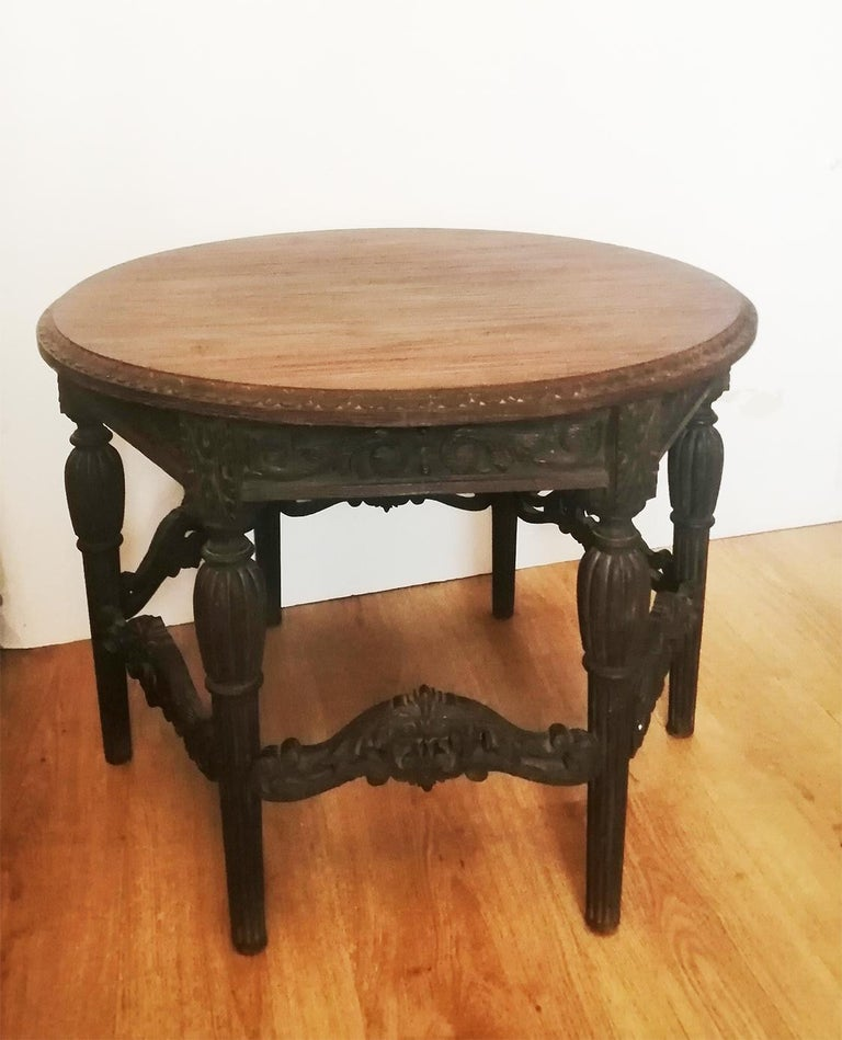 Antique Round Table With Six Adam Style Legs England 19th Century For Sale 5