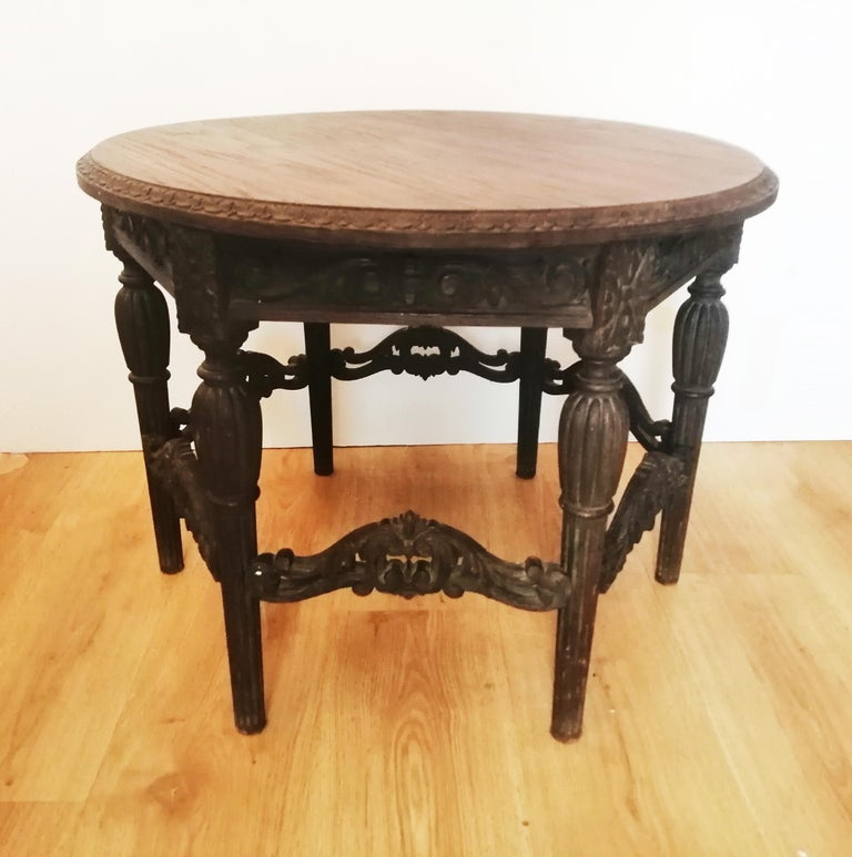 Antique Round Table With Six Adam Style Legs England 19th Century For Sale 6