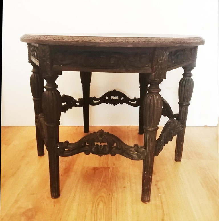 Antique Round Table With Six Adam Style Legs England 19th Century For Sale 1
