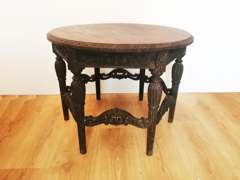Antique Round Table With Six Adam Style Legs England 19th Century For Sale 2