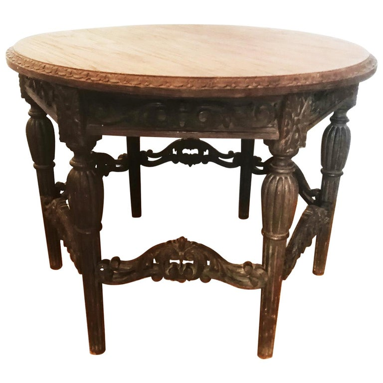 Antique Round Table With Six Adam Style Legs England 19th Century For Sale