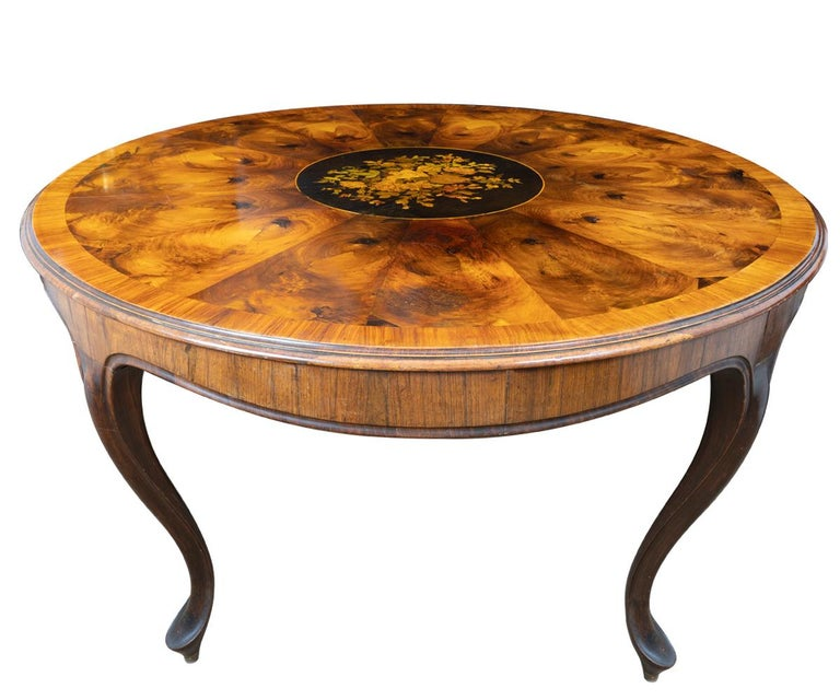 European Antique Round Walnut Victorian Burl Wood and Rosewood with Marquetry For Sale