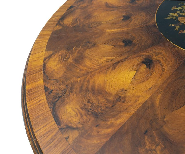 Antique Round Walnut Victorian Burl Wood and Rosewood with Marquetry In Good Condition For Sale In Laguna Beach, CA
