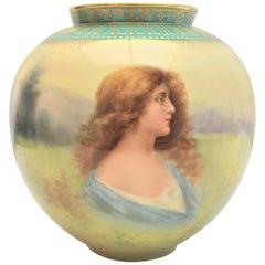 Antique Royal Bonn Hand Painted Portrait Vase Signed Muller