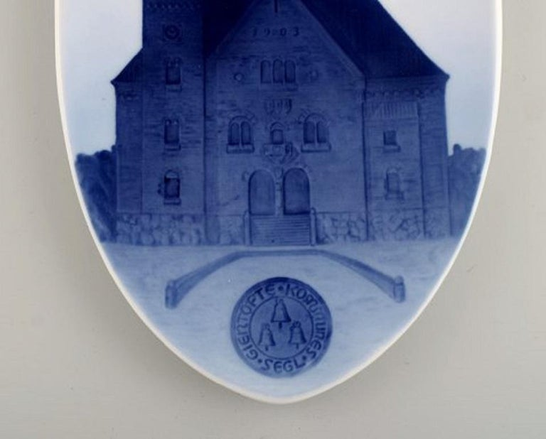 Danish Antique Royal Copenhagen Anniversary / Commemorative Plate in Porcelain For Sale