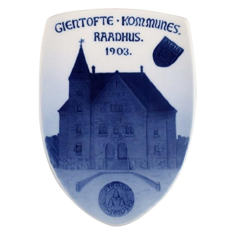 Antique Royal Copenhagen Anniversary / Commemorative Plate in Porcelain For Sale