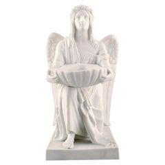 Antique Royal Copenhagen Figurine in Biscuit, The Angel of Baptism
