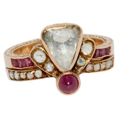 Antique, Royal Gold Ring with Rose Cut Trillion Diamond, Rubies and Ornaments