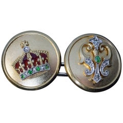 Antique Royal Presentation Gold Platinum Enamel Demantoid Diamond Cufflinks