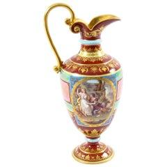 Antique Royal Vienna Porcelain Ewer Classical Figures, 19th Century