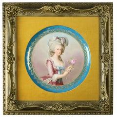 Antique Royal Vienna Porcelain Portrait Plaque of Marie Antoinette, circa 1890
