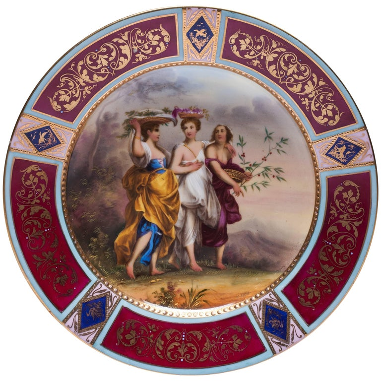 Antique Royal Vienna Scenic Porcelain Plate Signed K.Weh For Sale