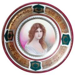 Antique Royal Vienna Style Hand Painted Porcelain Portrait Bowl by Wagner