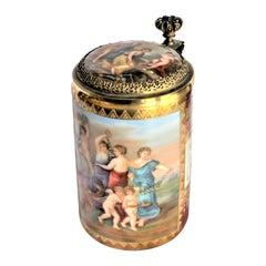 Antique Royal Vienna Styled Hand Painted Tankard or Stein with Bronze Mounts